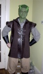 Jeff went to the neighbor's Halloween Party as Shrek