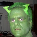 Jeff kind of looking like an Andorean with a stomach ache -- actually in his Shrek costume.