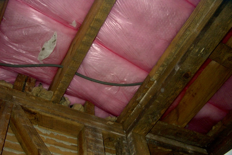 Insulation in attic and some old wiring.