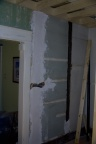 Plaster repair work on the north wall of the kitchen.