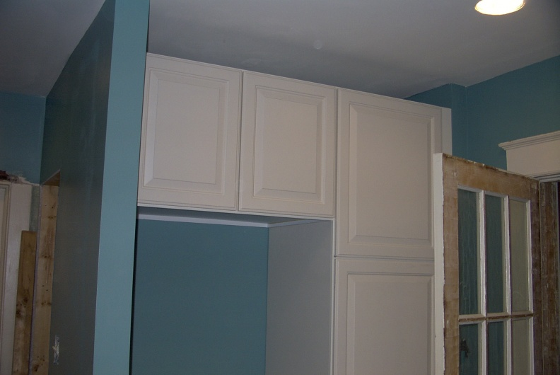 New pantry and overhead cabinets in the southeast corner of the kitchen